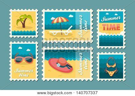 Beach vector stamp set. Summer time postmark. Vacation eps 10