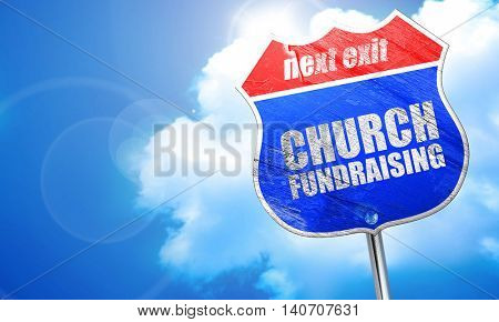 church fundraising, 3D rendering, blue street sign