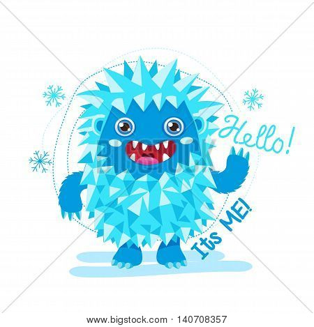 Cute Monster Vector Illustration. Bigfoot Cartoon Mascot. Funny Yeti On A White Background. For Kids T-Shirt Design. Happy Toy On A White Background.