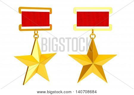 Hero of the Soviet Union Gold Star Awards on a white background. 3d Rendering