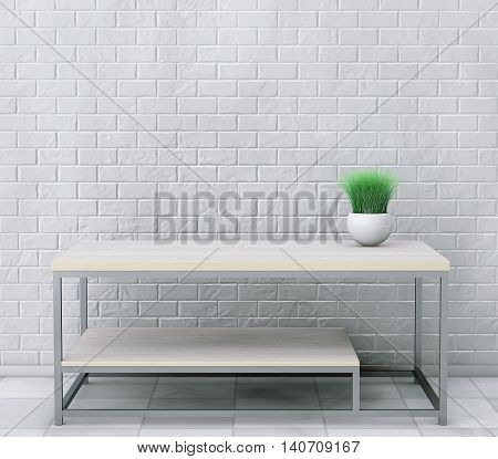 Simple Wooden Cocktail and Coffee Table with Grass in Ceramic Planter in front of brick wall. 3d Rendering