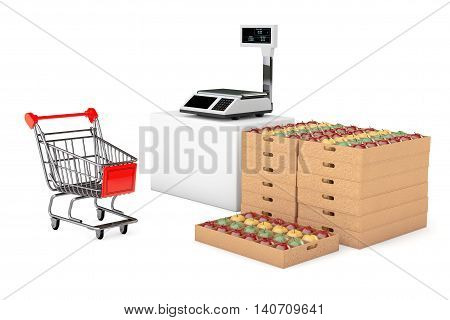 Electronic Scales for weighing Food with Apples Boxes on a white background. 3d Rendering