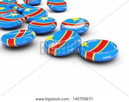 Flag Of Democratic Republic Of The Congo, Round Buttons