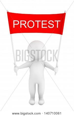 3d Person with Protest Placard Banner in Hands on a white background. 3d Rendering