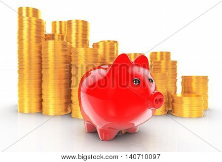 Piggybank with Stacks of Coins on a white background. 3d Rendering