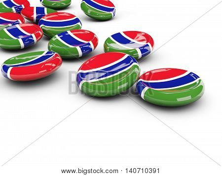 Flag Of Gambia, Round Buttons