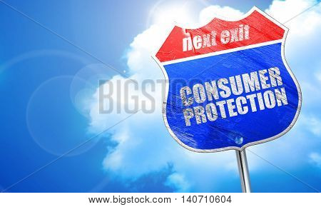 consumer protection, 3D rendering, blue street sign