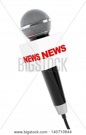 Microphone with News Box Sign on a white background. 3d Rendering