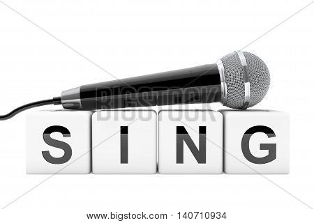 Microphone over Sing Cube Sign on a white background. 3d Rendering