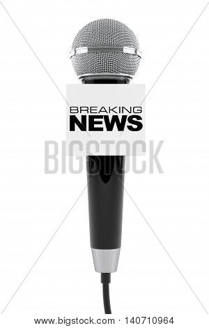 Microphone with Breaking News Box Sign on a white background. 3d Rendering