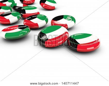 Flag Of Kuwait, Round Buttons