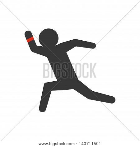 Wearable technology concept represented by Pictogram and watch icon. Isolated and flat illustration