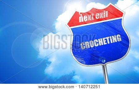 crocheting, 3D rendering, blue street sign