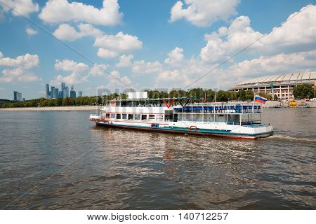 Passenger excursion vessel on the river Moscow. Moscow, Russia.