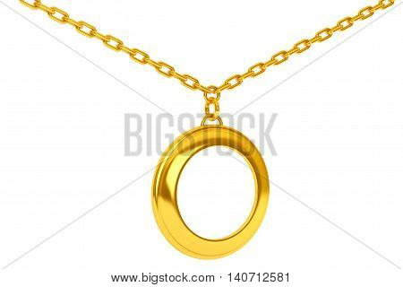 Golden Medallion on chain with Blank Space for Your Photo over white background. 3d Rendering