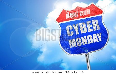 cyber monday, 3D rendering, blue street sign