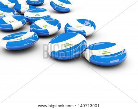 Flag Of Nicaragua, Round Buttons