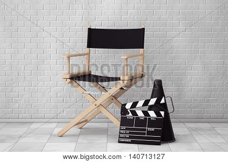 Director Chair Movie Clapper and Megaphone in front of Brick Wall. 3d Rendering