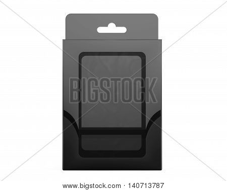 Product Package Blister Box With Hang Slot on a white background. 3d Rendering