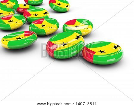Flag Of Sao Tome And Principe, Round Buttons
