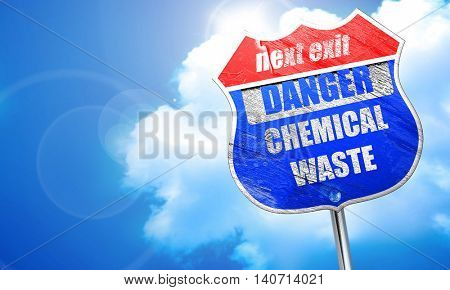 Chemical waste sign, 3D rendering, blue street sign