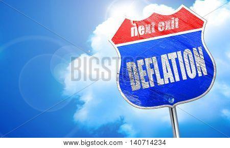 Deflation sign background, 3D rendering, blue street sign