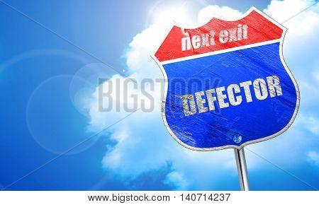 defector, 3D rendering, blue street sign