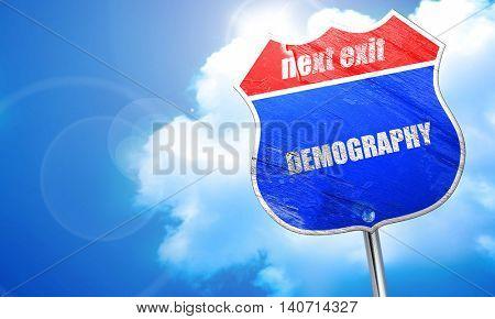 demography, 3D rendering, blue street sign