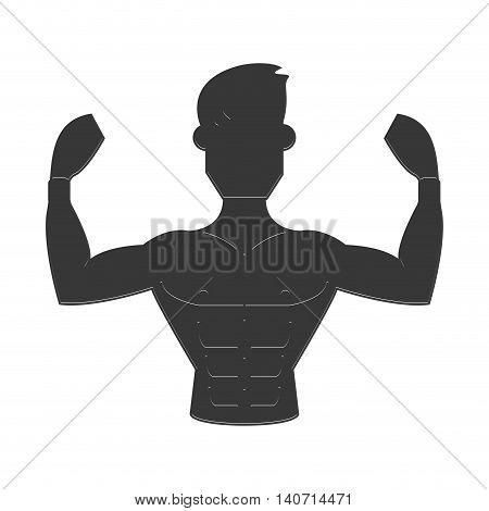 flat design strong man icon vector illustration