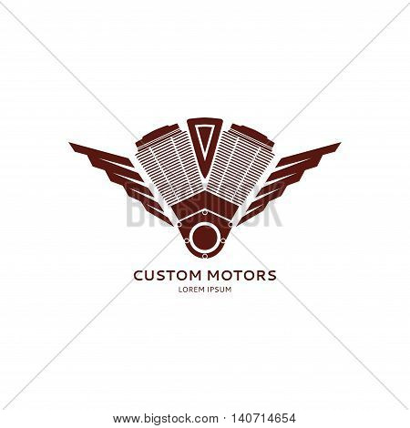 Custom motors logo template. Vector symbol of the motorcycle motor isolated on white background.