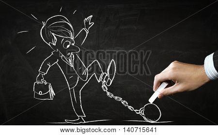 Funny businessman chalk drawing . Mixed media