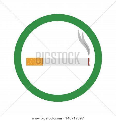 Flat icon cigarette. Smoking area. Vector illustration.