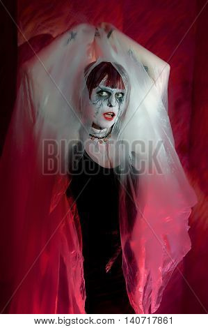 Female Zombie In Misty Mystical Garb