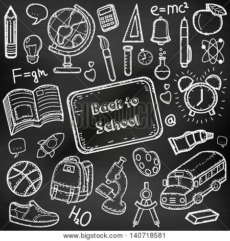 Back to School doodle set. Hand draw school items on a chalkboard. Vector illustration