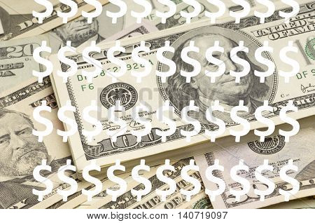Dollar Symbols over USD Currency