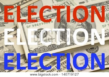 Election Text over USD Currency