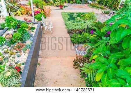 Landscaped of flower garden