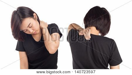Young woman pain in neck isolated white background.