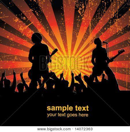 Sänger und der Menge von Fans Vektor Konzert poster