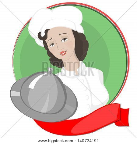 Girl chef serves on the background of the green circle and a red tape