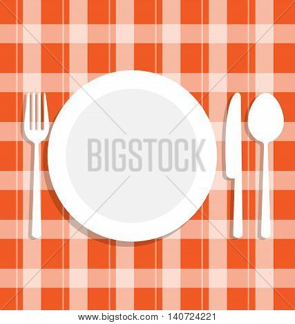 Cutlery dish on orange tablecloth for food concept