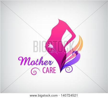 Vector pregnancy logo, pregnant woman silhouette icon