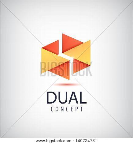 Vector dual concept logo, origami 2 parts icon. Company identity creative idea