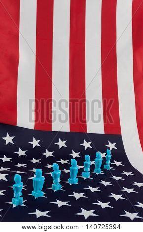 Male And Female Figurines On Usa Flag