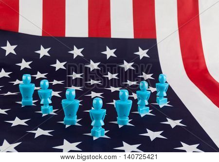 Male And Female Figurines On Usa Flag