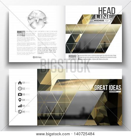 Set of annual report business templates for brochure, magazine, flyer or booklet. Colorful polygonal background with blurred image, seaport landscape, modern stylish triangular vector texture.