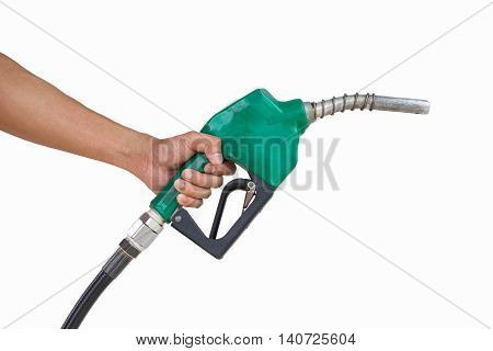 Man holding petrol pump isolated on white background.
