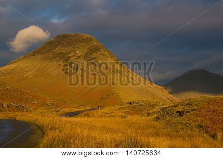 Evening light catching Seatallan at Wasdale in Cumbria