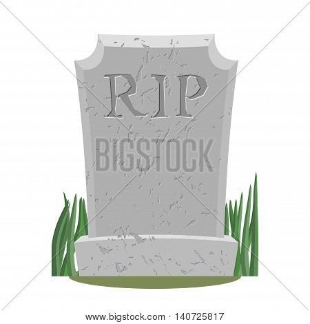 Grave. Old Gravestone With Cracks. Tomb On White Background. Ancient Rip. Granite Plate With Cracks