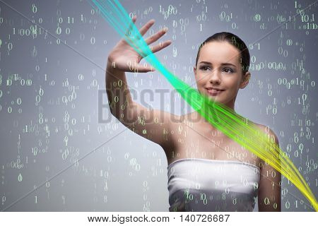 Young woman in digital concept